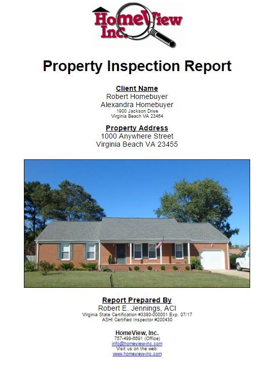 Sample Inspection Report  Homeview Inc